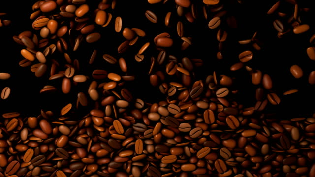 coffee beans falling down - with alpha mask - roasted coffee bean stock videos & royalty-free footage
