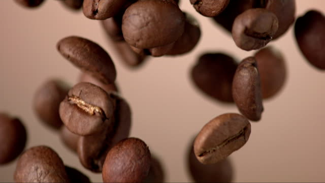 coffee beans falling over background (super slow motion) - brown background stock videos & royalty-free footage