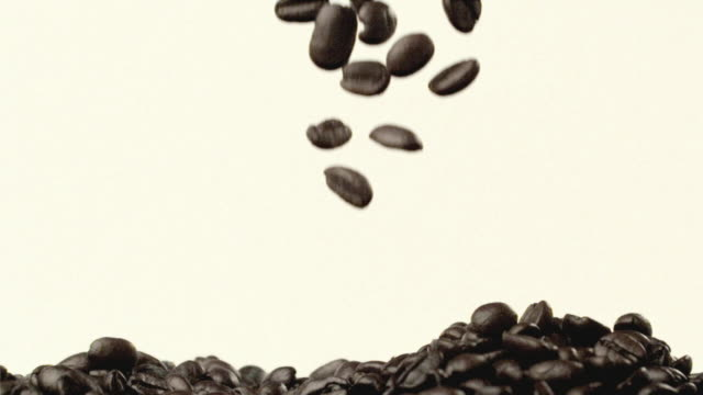 CU SLO MO Coffee beans falling / San Francisco, California, USA