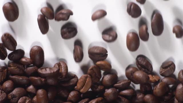 vídeos y material grabado en eventos de stock de granos de café rellenos llenos de fondo blanco - grano de café tostado