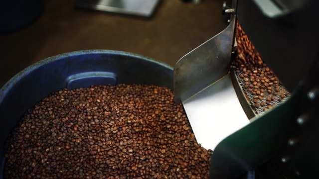 coffee beans filling up a bucket 4k - coffee drink stock videos & royalty-free footage