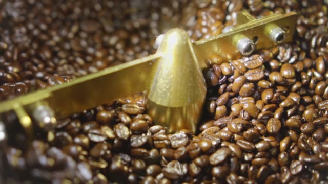 coffee beans in coffee roaster,slow motion - legume family stock videos and b-roll footage