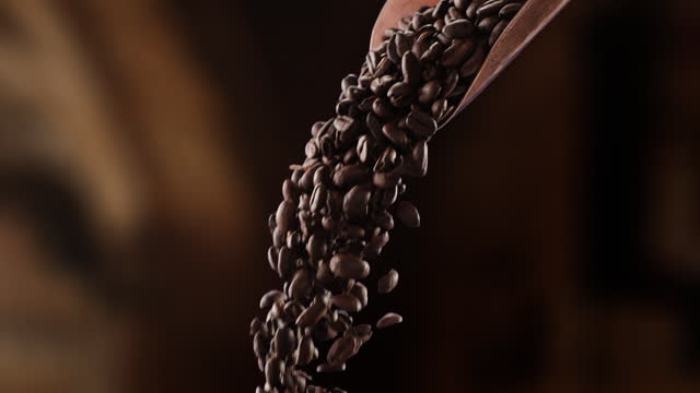 coffee beans pouring - serving scoop stock videos & royalty-free footage