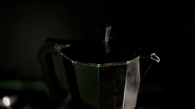 coffee boiling fom italian coffe maker moka pot - mocha stock videos and b-roll footage