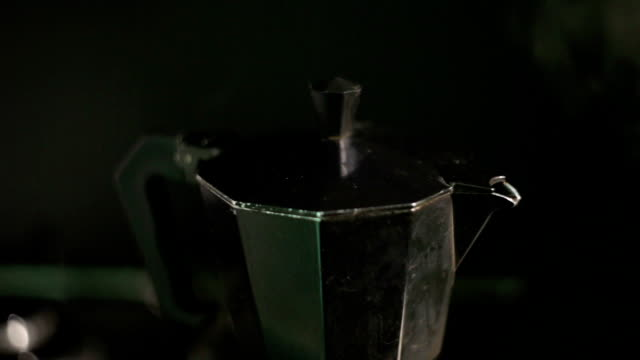 coffee boiling fom italian coffe maker moka pot - overflowing stock videos & royalty-free footage