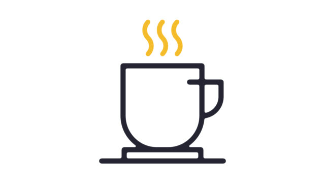 coffee break line icon animation with alpha - coffee cup stock videos & royalty-free footage