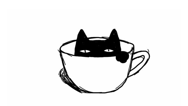 coffee cat - line art video stock e b–roll
