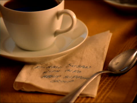 A coffee cup and a spoon hold down a handwritten note on a napkin.