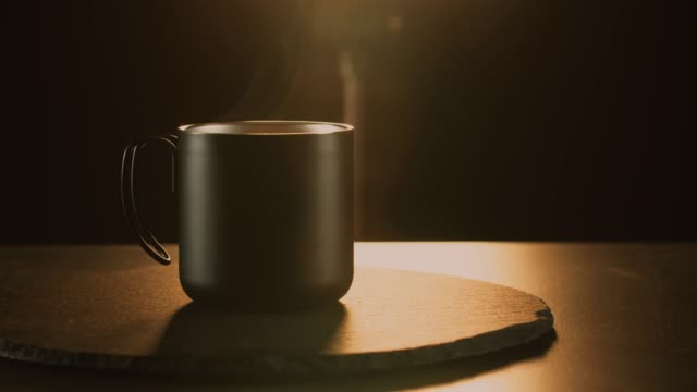coffee cup in a dark mystic scene with natural steam - coffee cup stock videos & royalty-free footage