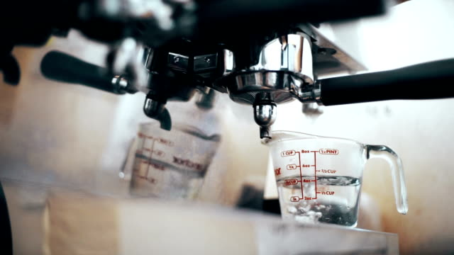 coffee machine in coffee shop. - espresso maker stock videos and b-roll footage
