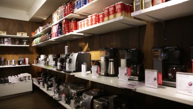 coffee machines and packets of coffee sit for sale inside a cafe operated by de master blenders 1753 nv in utrecht netherlands on wednesday july 24... - utrecht stock videos & royalty-free footage
