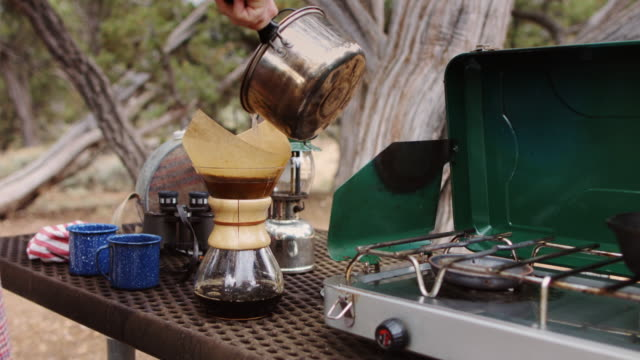 coffee maker at picnic - camping stove stock videos and b-roll footage
