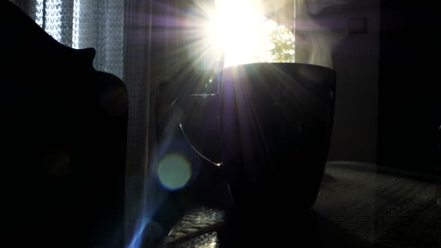 coffee mug on living room table - froth art stock videos and b-roll footage