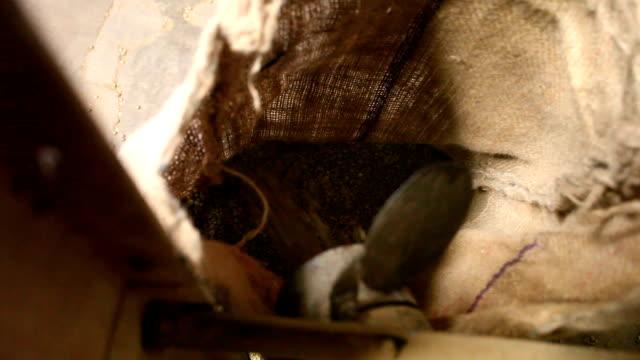 coffee processing. - 布の袋点の映像素材/bロール