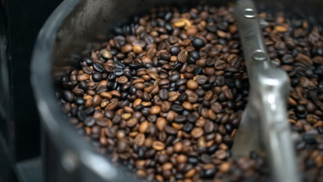 コーヒー豆を炒るマシンで焙煎後の新鮮な焙煎コーヒー豆コーヒー豆の冷却のクーリングオフ - エチオピア点の映像素材/bロール