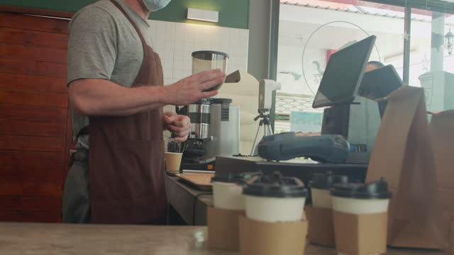 coffee shop business curbside for new normal service customer. - capital letter stock videos & royalty-free footage