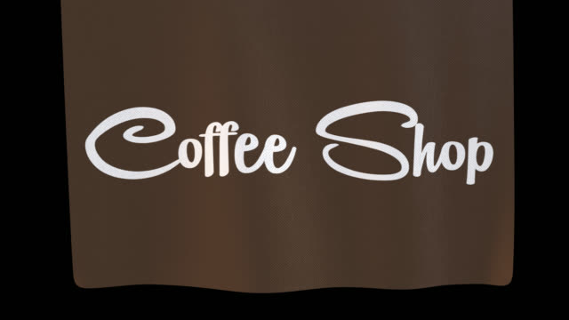 coffee shop unfolding cloth sign. alpha channel will be included when downloading the 4k apple prores 4444 file only - shop sign stock videos & royalty-free footage