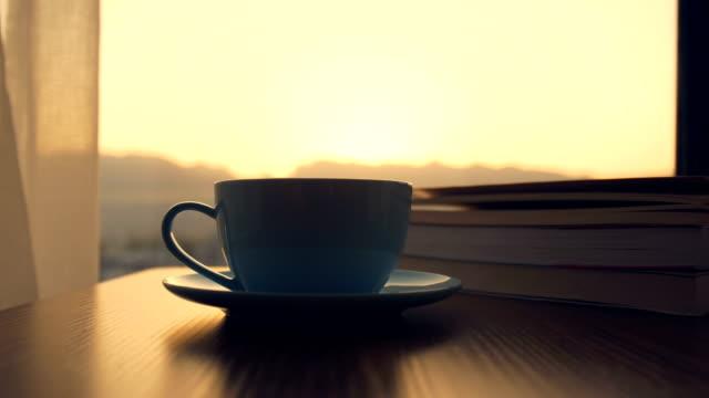 vídeos de stock e filmes b-roll de coffee time with book - confortável