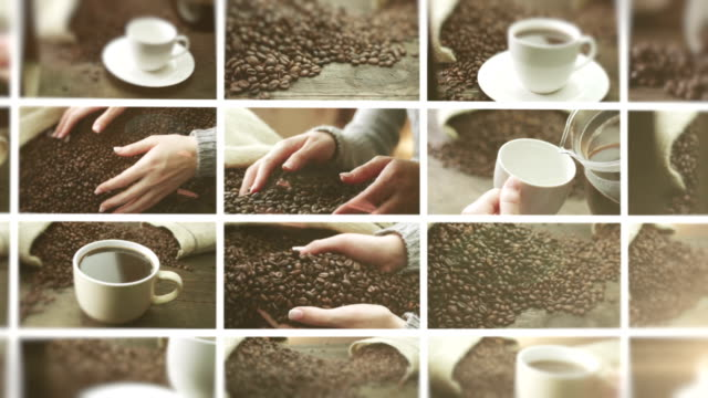 コーヒーをどうぞ。ビデオウォールます。 - 平豆点の映像素材/bロール