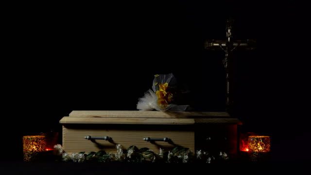 coffin and religious cross - coffin stock videos & royalty-free footage