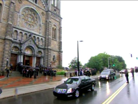 coffin carrying senator ted kennedy arrives at our lady of perpetual help basilica church for funeral service 29 august 2009 - perpetual motion stock videos & royalty-free footage