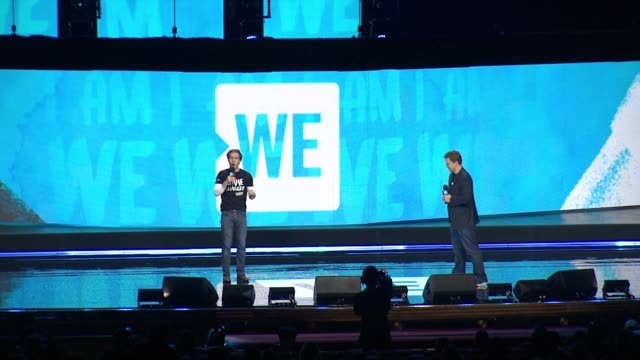 co-founders of the we movement craig kielburger and marc kielburger share the background of this event and how large it has become at we day new york... - radio city music hall stock-videos und b-roll-filmmaterial