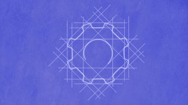 Cog wheels drawn on blueprint