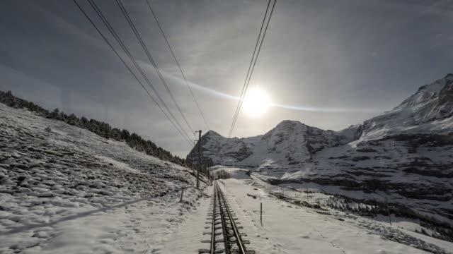 POV Cogwheel train travelling to the top of mountain / Zermatt, Switzerland