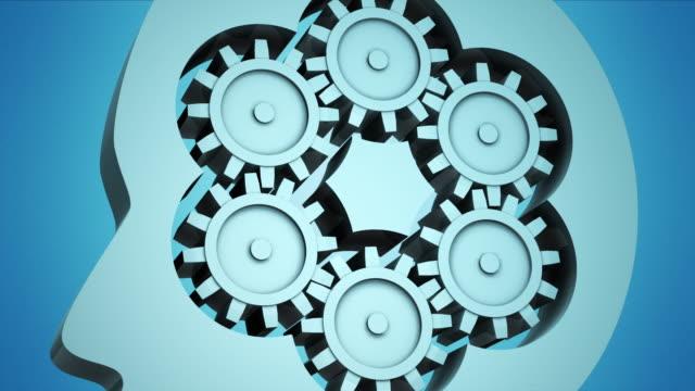vidéos et rushes de cgi cu zo cogwheels inside of head - rouage mécanisme