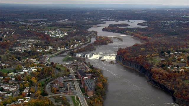 cohoes falls and mills - aerial view - new york,  saratoga county,  united states - albany new york state stock videos & royalty-free footage
