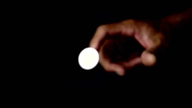 Coin flip in slow motion shot
