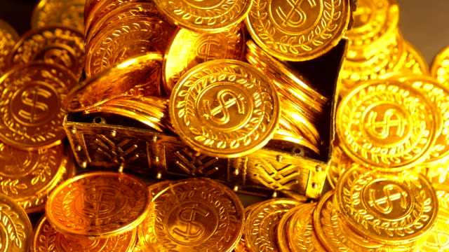 coin in treasure chest - antiquities stock videos & royalty-free footage
