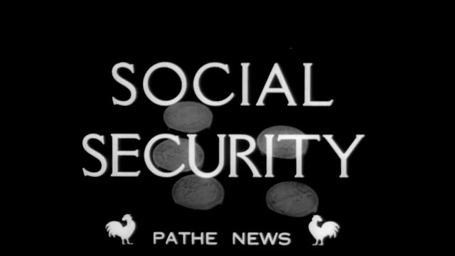 vidéos et rushes de 1936 coins drop from above over the words social security - services sociaux