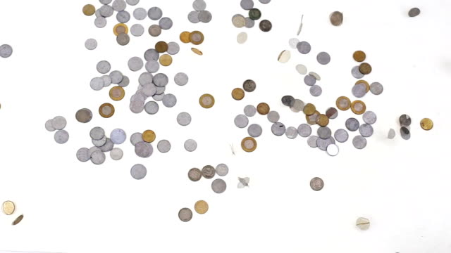 Coins falling down