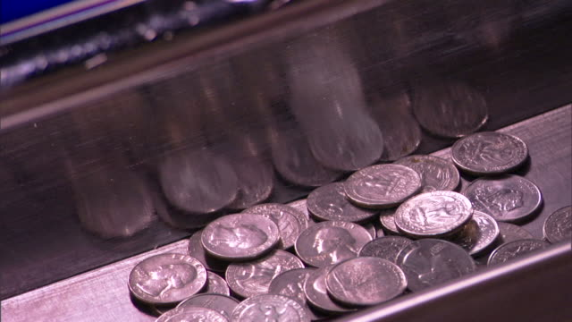 Coins falling from slot machine