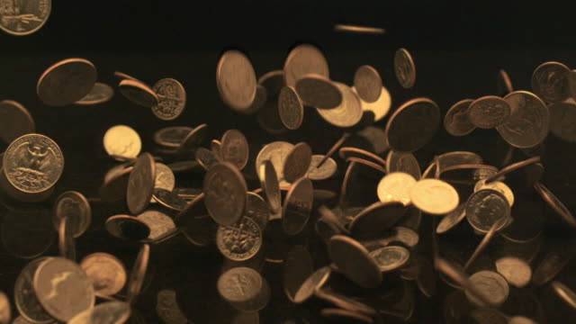 coins falling onto black granite (slow motion) - five cent coin stock videos & royalty-free footage