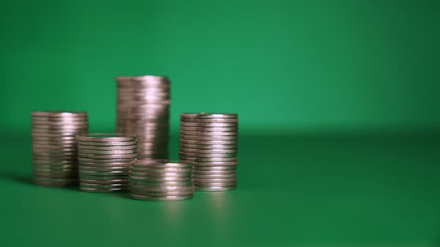 coins stack with copy space - stacking stock videos & royalty-free footage