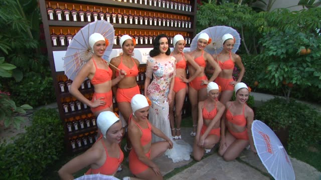 cointreau and dita von teese launch cointreau poolside soirees in celebration of the beverly hills hotel's 100th anniversary event capsule chyron... - beverly hills hotel stock videos and b-roll footage