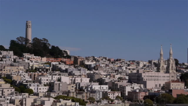 coit tower and saints peter and paul church in san francisco ca - north beach san francisco stock videos & royalty-free footage