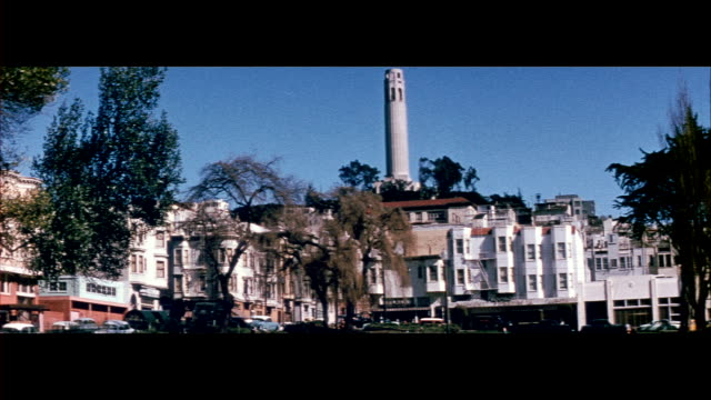 1955 coit tower and telegraph hill in san francisco - north beach san francisco stock videos & royalty-free footage