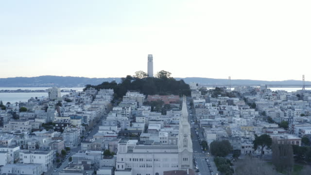 coit tower & downtown san francisco - north beach san francisco stock videos and b-roll footage