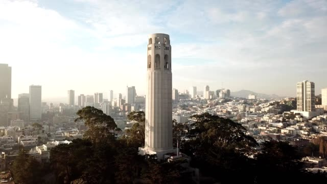 coit tower in san francisco - north beach san francisco stock videos & royalty-free footage