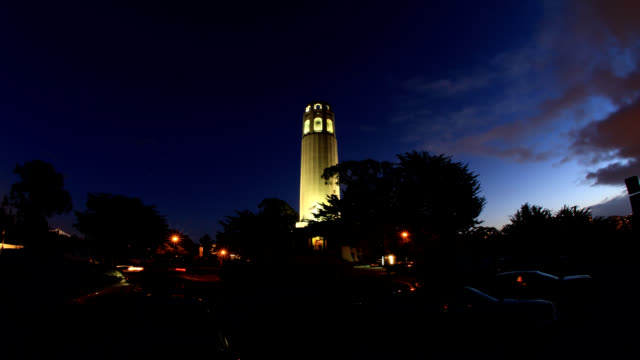 coit tower sunset - coit tower stock videos & royalty-free footage