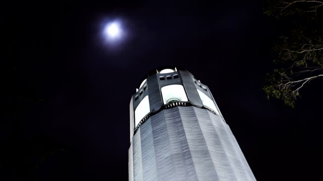 hd coit tower with full moon - coit tower stock videos & royalty-free footage
