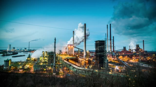 coking plant at dusk - ruhr stock videos & royalty-free footage