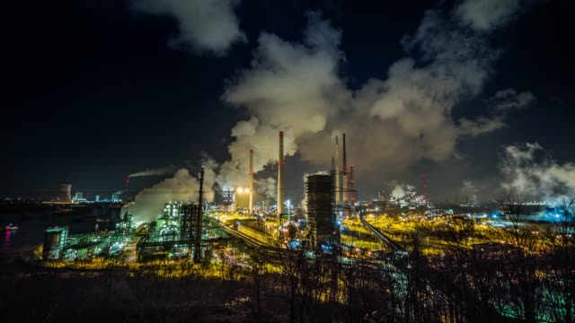coking plant at night - ruhr stock videos & royalty-free footage