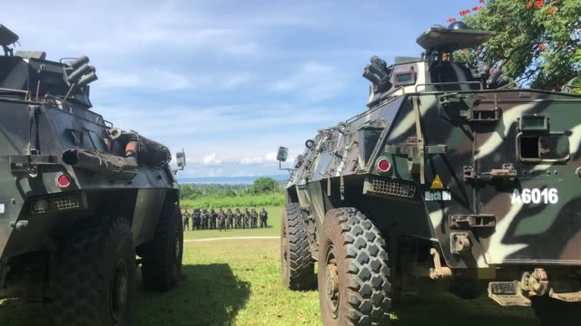 Col Romeo S Brawner speaks to army and police during the sendoff program of around 1900 government troops from Philippine Army and Philippine...