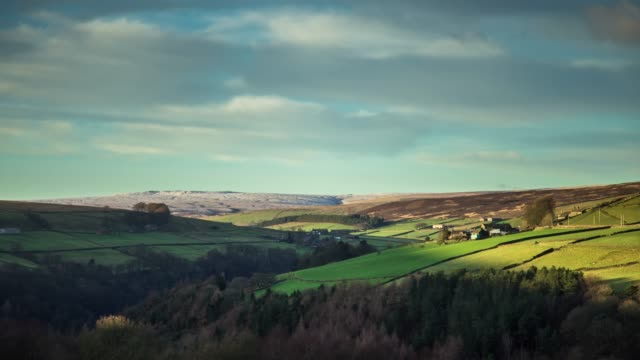 vídeos de stock e filmes b-roll de cold day in west yorkshire - time lapse - yorkshire