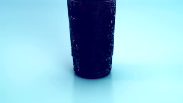 cold drink with ice cubes in 4K