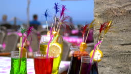 Cold drinks at beach bar in 4k slow motion 60fps